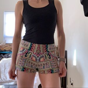 NWOT Zara embroidered fancy shorts black and neon